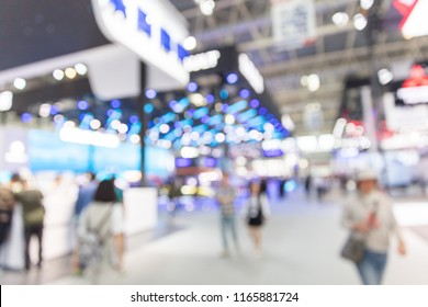 Blurred, defocused background of public event exhibition hall, business trade show concept