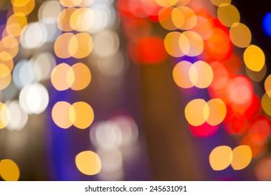 Blurred De-focused Lights of Heavy Traffic on a Wet Rainy