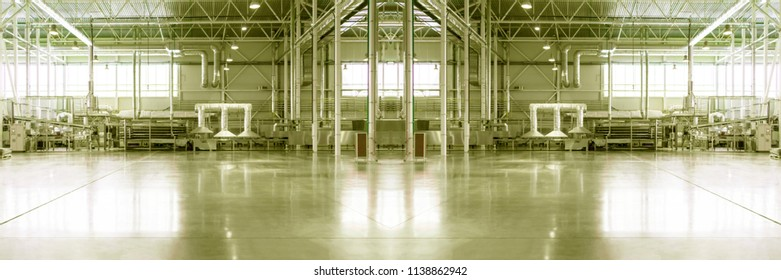 Blurred and defocused piece of empty typical industrial interior.
