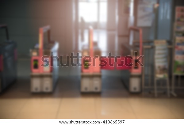 Blurred / Defocussed abstract background of Japanese subway station entrance, taken in Japan