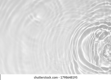 Blurred desaturated transparent clear calm water surface texture with splashes and bubbles. Trendy abstract nature background. White-grey water waves in sunlight. Copy space. - Shutterstock ID 1798648195