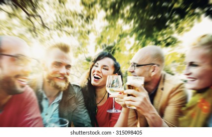 Blurred Diverse People Friends Hanging Out Drinking Concept