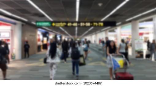 Blurred Donmueang airport departure terminal walk hall