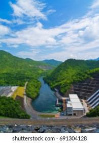 Blurred electricity generator front of Sri Nakharin Dam, Kanchanaburi, Thailand