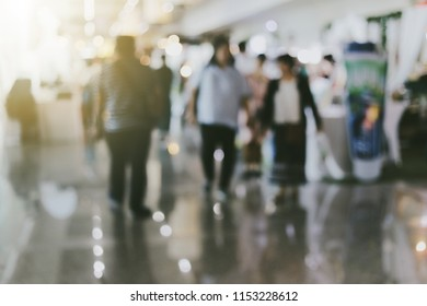 Blurred Expo background. Business people in interiors, Shopping  produce bokeh