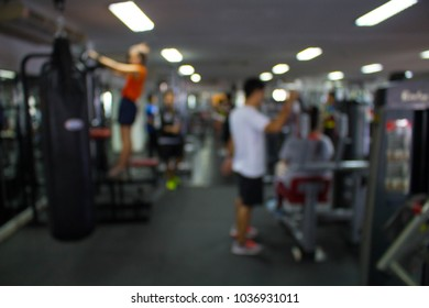 Blurred of fitness gym background