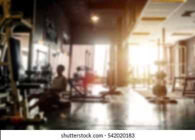 Blurred of fitness gym background for banner presentation.