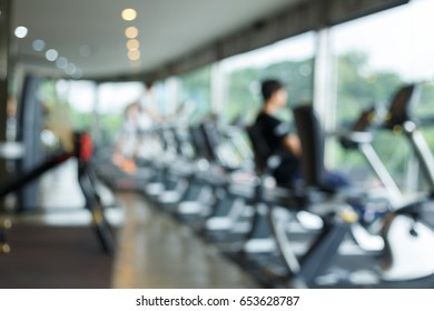 blurred fitness gym exercise workout sport club center with healthy lifestyle for banner advertising background - Shutterstock ID 653628787