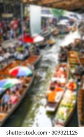 blurred floating market for background