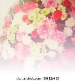 Blurred flower background with vintage filter