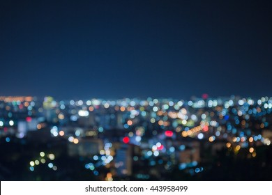 Blurred focus of big city in night time