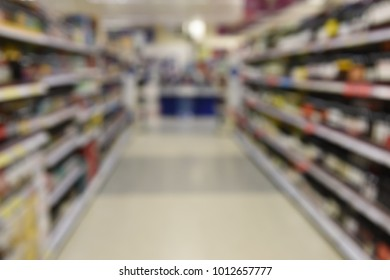 Blurred Focus of Grocery Store Interior