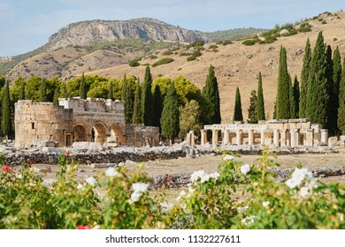 Blurred Foreground of Colorful Rose Garden and Ancient Ruin of Hierapolis (Holy City) over Pamukkale Mountain in Turkey, Top Tourist Destination