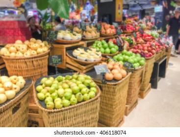 Blurred fruit market