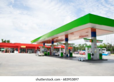 Blurred gasoline station with beautiful blue sky