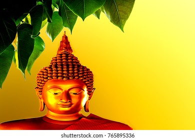 Blurred  Golden Buddha statues and the PHO (Bodhi). Buddhist sacred tree on a golden background.