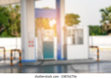 Blurred and gradient light effect on NGV or CNG gas station background. Energy industry, ecology, clean energy.