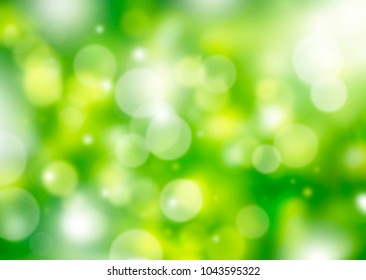 blurred green with yellow bokeh spring background