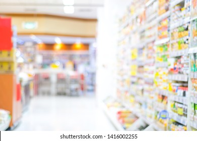 Blurred grocery background, Blur products on shelves at supermarket store backdrop, Retail business banner, wallpaper, poster