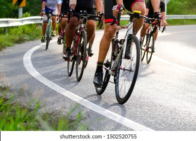 Blurred group of cyclists,Cyclist team practising hard for cycle race