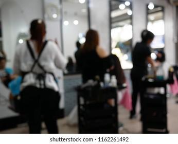 blurred of hair salon shop.