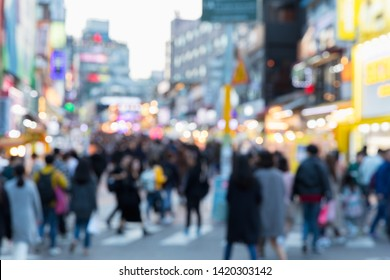 Blurred Hongdae shopping street. Hongdae is a shopping cultural street for young people in Seoul.