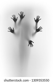 Blurred human body shape spirit stands behind diffuse surface, six hands can be seen sharply, fingers and palms.