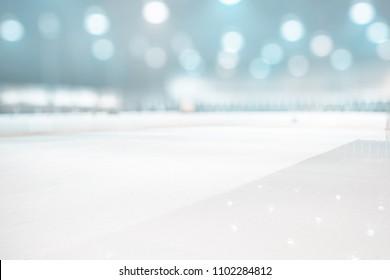 BLURRED ICE HOCKEY STADIUM BACKGROUND, WINTER SPORT ARENA