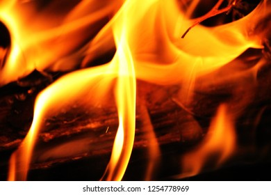 Blurred illustration of burning fire flame. blaze fire flame texture on black background