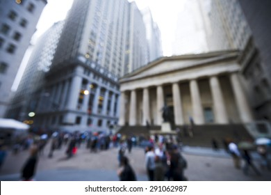 blurred image of the area at Broad Street and Exchange Place in New York City, NY.