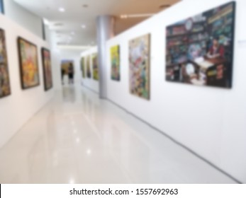 Blurred image of Art Gallery Museum or Showroom exhibit Picture or Painting.