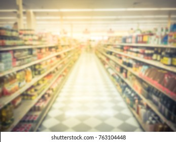 Blurred image of Asian grocery store in Houston, Texas, US. Vintage tone.