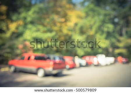 Blurred Image Busy Trailhead Parking Fall Stock Photo (Edit Now