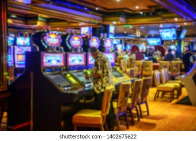 blurred image of casino games place at cruise liner