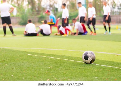 Blurred image of Children Training In Soccer Team