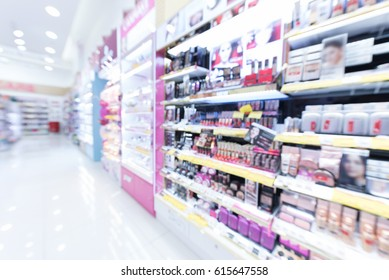 Blurred image of cosmetic shop. Cosmetic shop background.