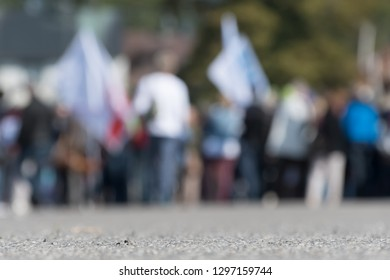 Blurred image of a crowd on the street in Germany