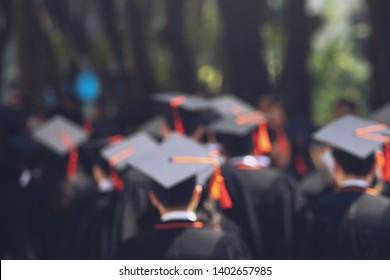 blurred image crowd, the student graduation during commencement success graduates of the university, Concept education congratulation. Graduation Ceremony