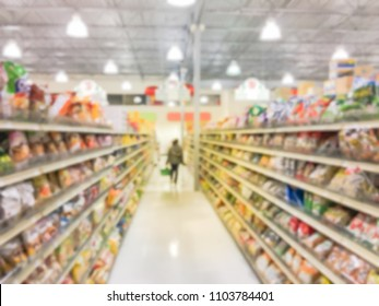 Blurred image customer shopping at Asian grocery store in Garland, Texas, US.