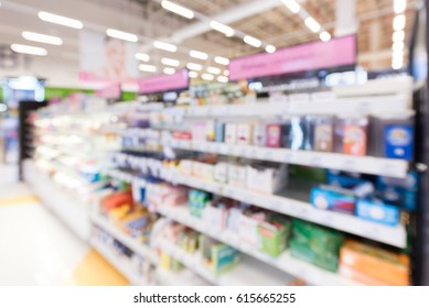 Blurred image of drug and vitamin store.