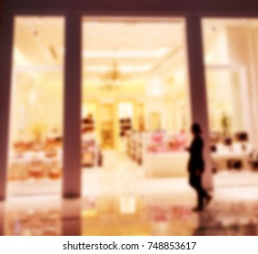 blurred image of Dubai Mall - biggest shopping center