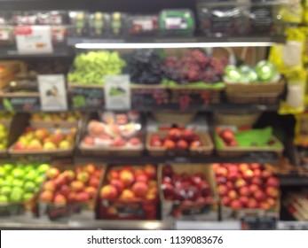 Blurred image of Fruit shelf in Supermarket for Background