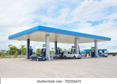 Blurred image of gas station