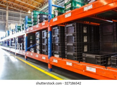 Blurred image of goods shelf in warehouse or storehouse