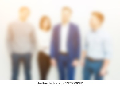 Blurred image of group freelancers working at coworking space