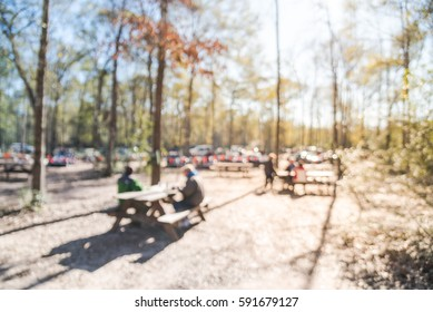 Blurred image group of people hanging out at forest around  campfire in a sunny winter afternoon at Conroe, Texas, US. Abstract background park activities, long benches and tall oak trees, bokeh light