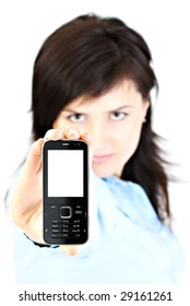 Blurred image of happy businesswoman showing her cellphone