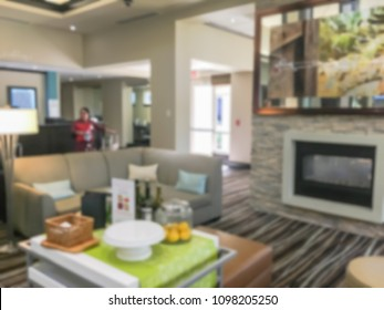 Blurred image a hotel lobby in America. Travel, business and holiday vacation concept.