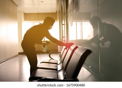 blurred image of housekeeper cleaning service working at office. Blur image use for background.