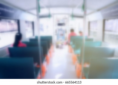 Blurred Image Inside Boat with People.